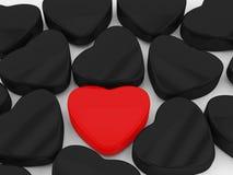 Cuore nero e rosso Fotografia Stock Libera da Diritti