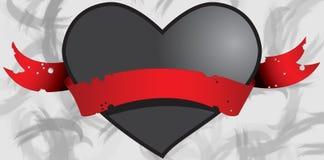 Cuore nero in nastro rosso 1 Fotografia Stock Libera da Diritti