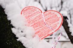 cuore in neve Fotografia Stock