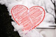 cuore in neve Fotografia Stock Libera da Diritti