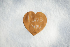 cuore in neve Fotografie Stock