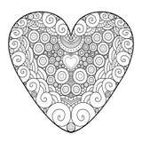 Cuore ornamentale decorativo Illustrazione di vettore per la cartolina d'auguri di giorno di S. Valentino Pagina del libro da col illustrazione di stock