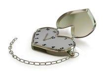 Cuore-orologio con la catena. 3D Fotografia Stock