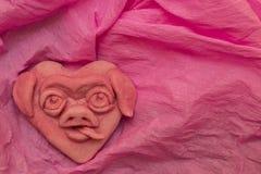 Cuore rosa con la museruola divertente il maiale Fotografia Stock Libera da Diritti