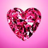 Cuore rosa del diamante Fotografia Stock