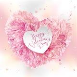 Cuore rosa del fiore per il giorno del ` s del biglietto di S. Valentino Immagine Stock