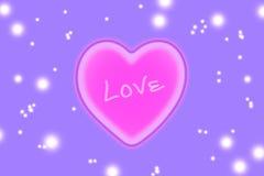 Cuore rosa su fondo porpora Fotografia Stock Libera da Diritti