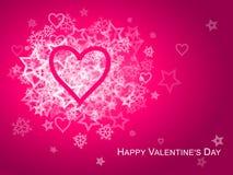 Cuore rosa Valentine Card Fotografie Stock Libere da Diritti