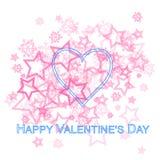 Cuore rosa Valentine Card Fotografia Stock