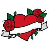 Cuore, rose ed insegna Immagine Stock