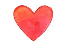 Cuore rosso in acquerello Fotografia Stock