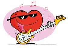 Cuore rosso che gioca una chitarra e che canta Fotografie Stock