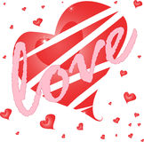 Cuore rosso con amore. scheda del biglietto di S. Valentino Immagine Stock
