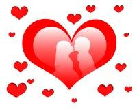 Cuore rosso con baciare Fotografie Stock