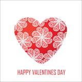 Cuore rosso con i fiori per il giorno di biglietti di S. Valentino, per il DES Immagine Stock