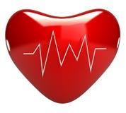 Cuore rosso con il cardiogram 3d illustrazione vettoriale