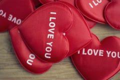 Cuore rosso con l'amore di parola voi Fotografie Stock Libere da Diritti