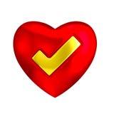 Cuore rosso con l'icona del segno di spunta 3D dell'oro SÌ Fotografia Stock