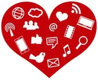 Cuore rosso con l'illustrazione sociale delle icone di media Immagine Stock