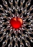 Cuore rosso con le bottiglie di vino Immagine Stock