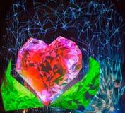 Cuore rosso con le foglie verdi - manifestazione digitale del laser Fotografia Stock Libera da Diritti