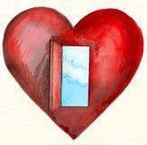 Cuore rosso con un cielo blu e le nubi della porta aperta Immagini Stock