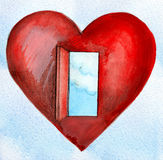 Cuore rosso con un cielo blu e le nubi della porta aperta Fotografie Stock
