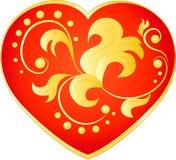 Cuore rosso con un modello floreale dell'oro Immagine Stock