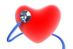Cuore rosso con uno stetoscopio Immagine Stock