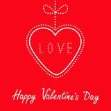 Cuore rosso d'attaccatura con l'arco. Giorno di biglietti di S. Valentino felice c Immagine Stock