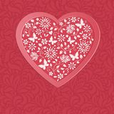 Cuore rosso dai fiori royalty illustrazione gratis