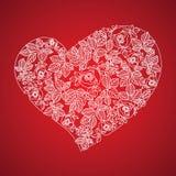 Cuore rosso del biglietto di S. Valentino nello stile floreale Fotografie Stock Libere da Diritti