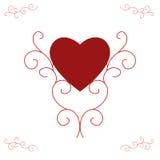 Cuore rosso del biglietto di S. Valentino - rotoli decorati Immagini Stock