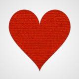 Cuore rosso del cotone Fotografie Stock