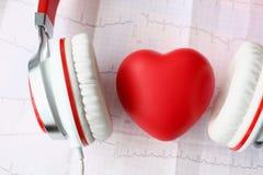 Cuore rosso del giocattolo heaphones sul cardiogramma della carta fotografia stock