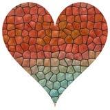 Cuore rosso del mosaico grande ed azzurrato illustrazione di stock
