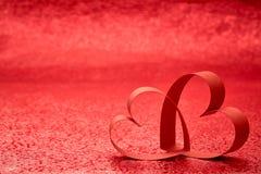 Cuore rosso del nastro Fotografia Stock Libera da Diritti