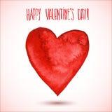Cuore rosso dell'acquerello per il San Valentino Immagine Stock