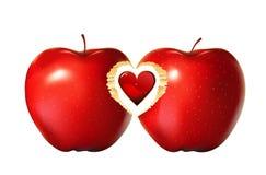 Cuore rosso della mela   illustrazione vettoriale