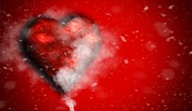 Cuore rosso di amore romantico con fumo su fondo per lo spazio della copia Con le sovrapposizioni di struttura della neve fotografia stock