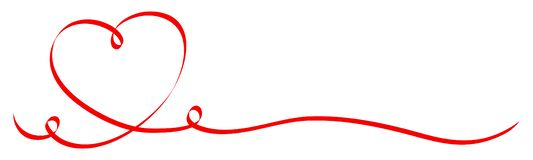 Cuore rosso di calligrafia con un nastro di due turbinii royalty illustrazione gratis