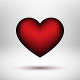 Cuore rosso di giorno di biglietti di S. Valentino Fotografia Stock