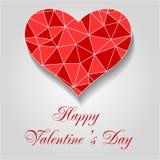 Cuore rosso di origami Giorno felice dei biglietti di S EPS10 Illustrazione di vettore illustrazione vettoriale