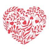 Cuore rosso di vettore con la foglia ed il fiore Fotografia Stock