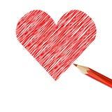 Cuore rosso disegnato con la matita Fotografia Stock