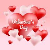 Cuore rosso e bianco del pallone, giorno del valentine' del testo di tipografia su fondo rosa, stagione di amore Illustrazione  Fotografie Stock