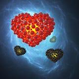 Cuore rosso fatto delle sfere con le riflessioni sul fondo blu dello spazio della galassia Illustrazione felice di giorno di bigl Fotografie Stock