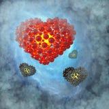 Cuore rosso fatto delle sfere con le riflessioni sul fondo blu dello spazio della galassia Illustrazione felice di giorno di bigl Fotografie Stock Libere da Diritti