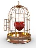 Cuore rosso in gabbia Immagine Stock
