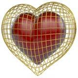Cuore rosso in gabbia dorata Immagine Stock Libera da Diritti